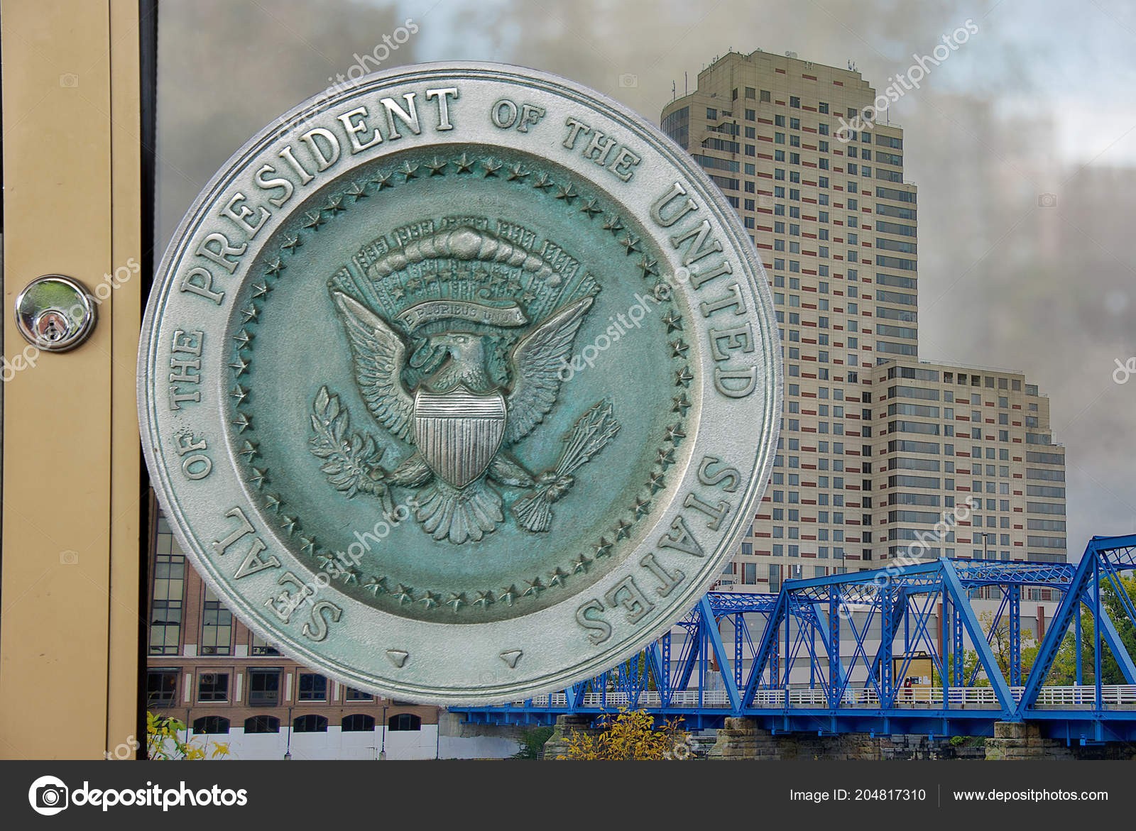 Close Presidential Seal Glass Door Grand Rapids City Reflection Background  U2014 Stock Photo