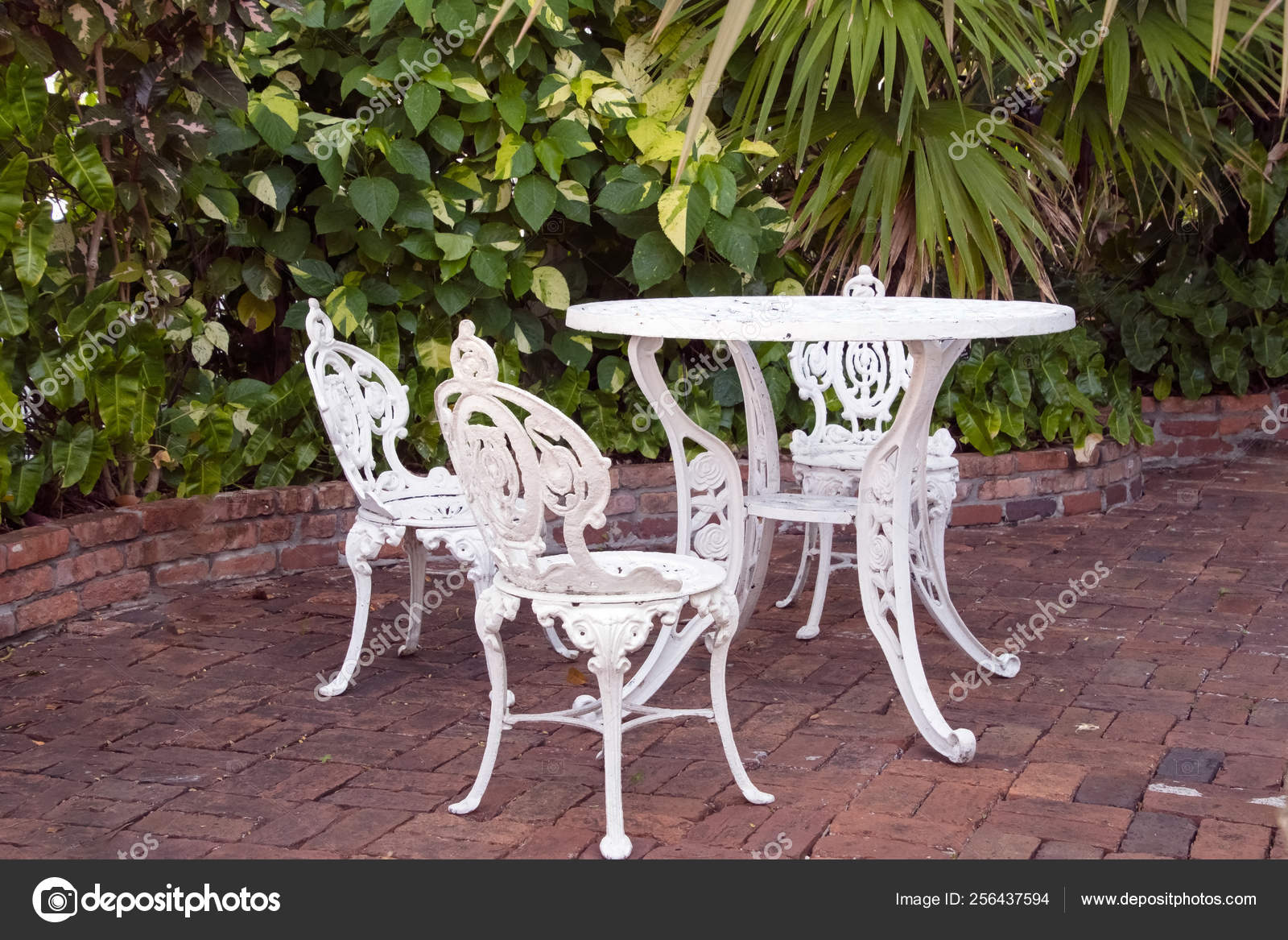 White Wrought Iron Table Chair Set Brick Patio Tropical ...