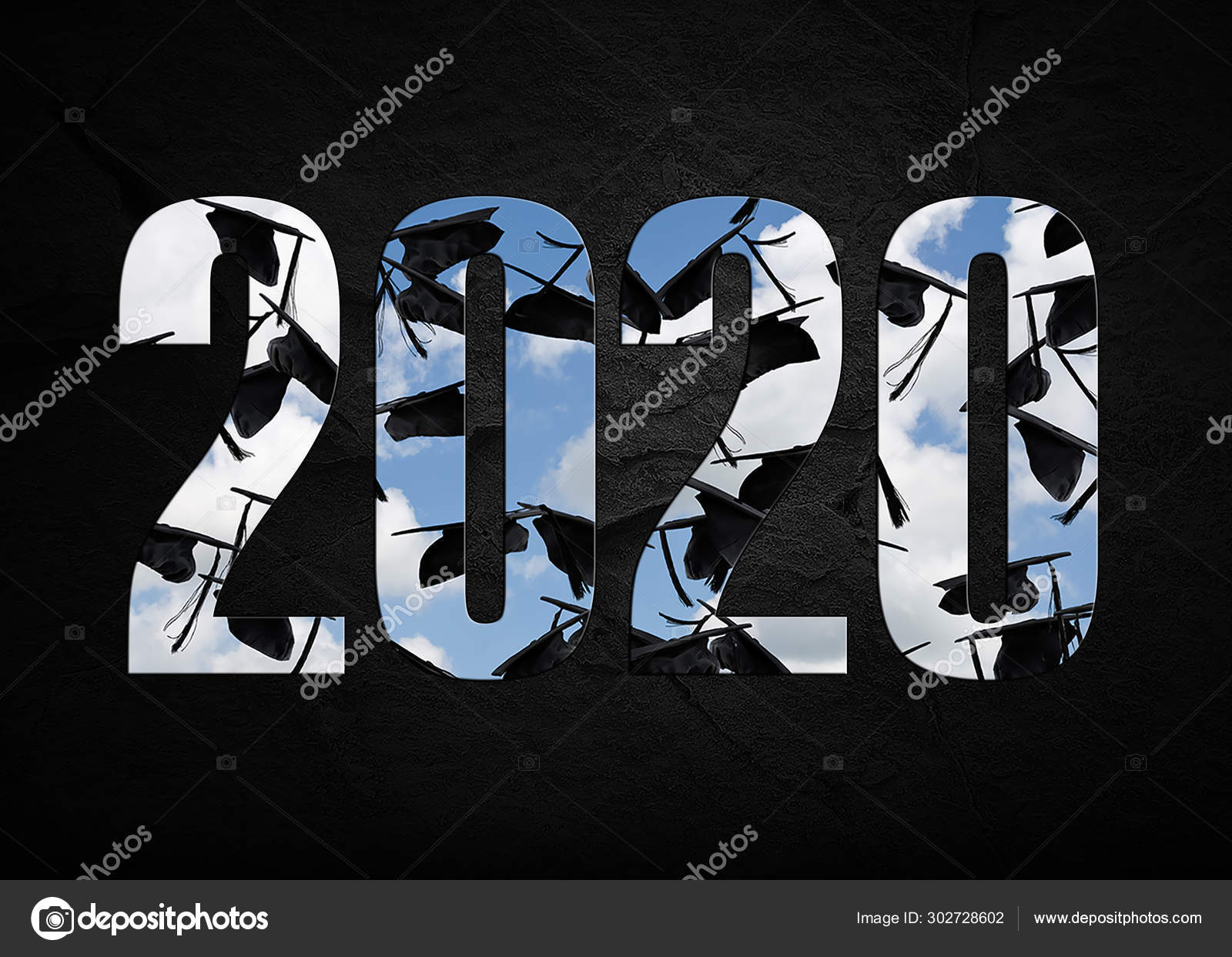 Graduation Background 2020.Bold Text Black Graduation Caps Sky Class 2020 Textured Rock