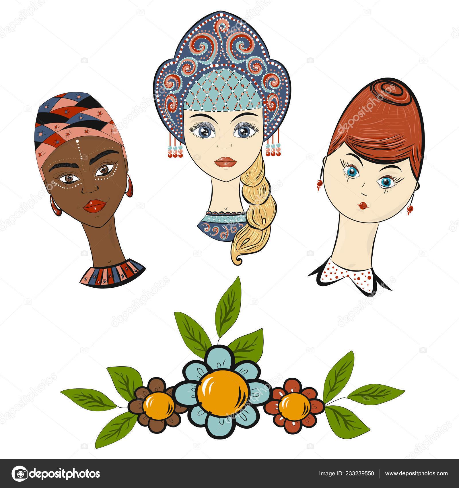 Día Internacional Mujer Estilo Dibujos Animados Vector Plantilla