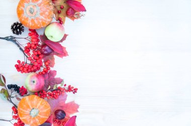 Autumn background with maple leaves, apples and pumpkins, mounta