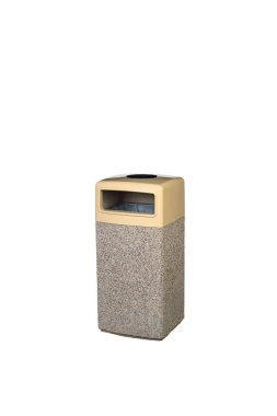 Street concrete recycled bin. Isolated on white