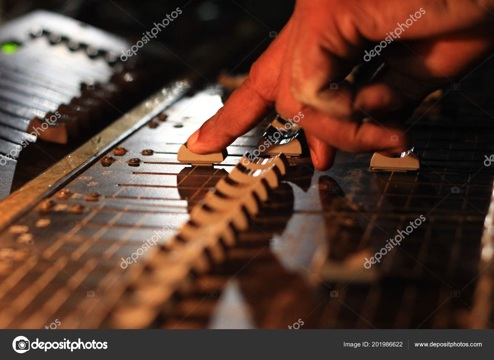 Hands Operating Slider Light Sound Board Console Concert Theater