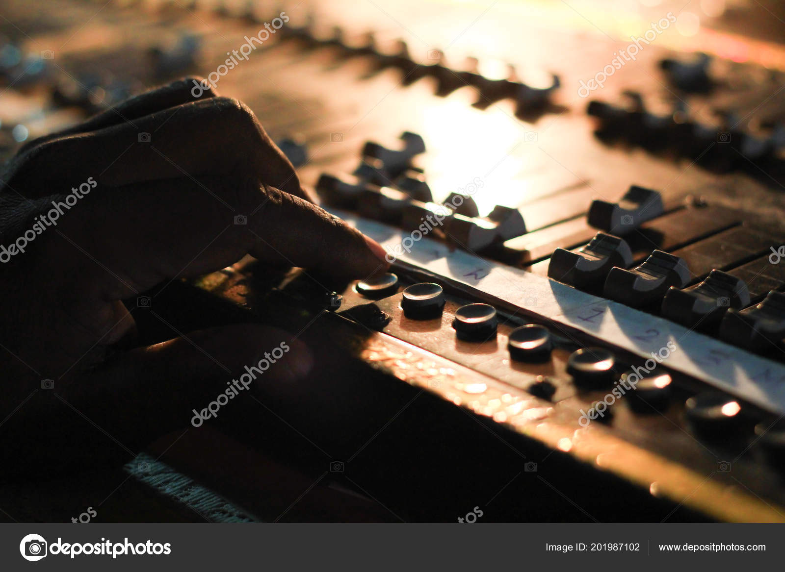 Hands Operating Buttons Light Sound Board Console Concert Theater