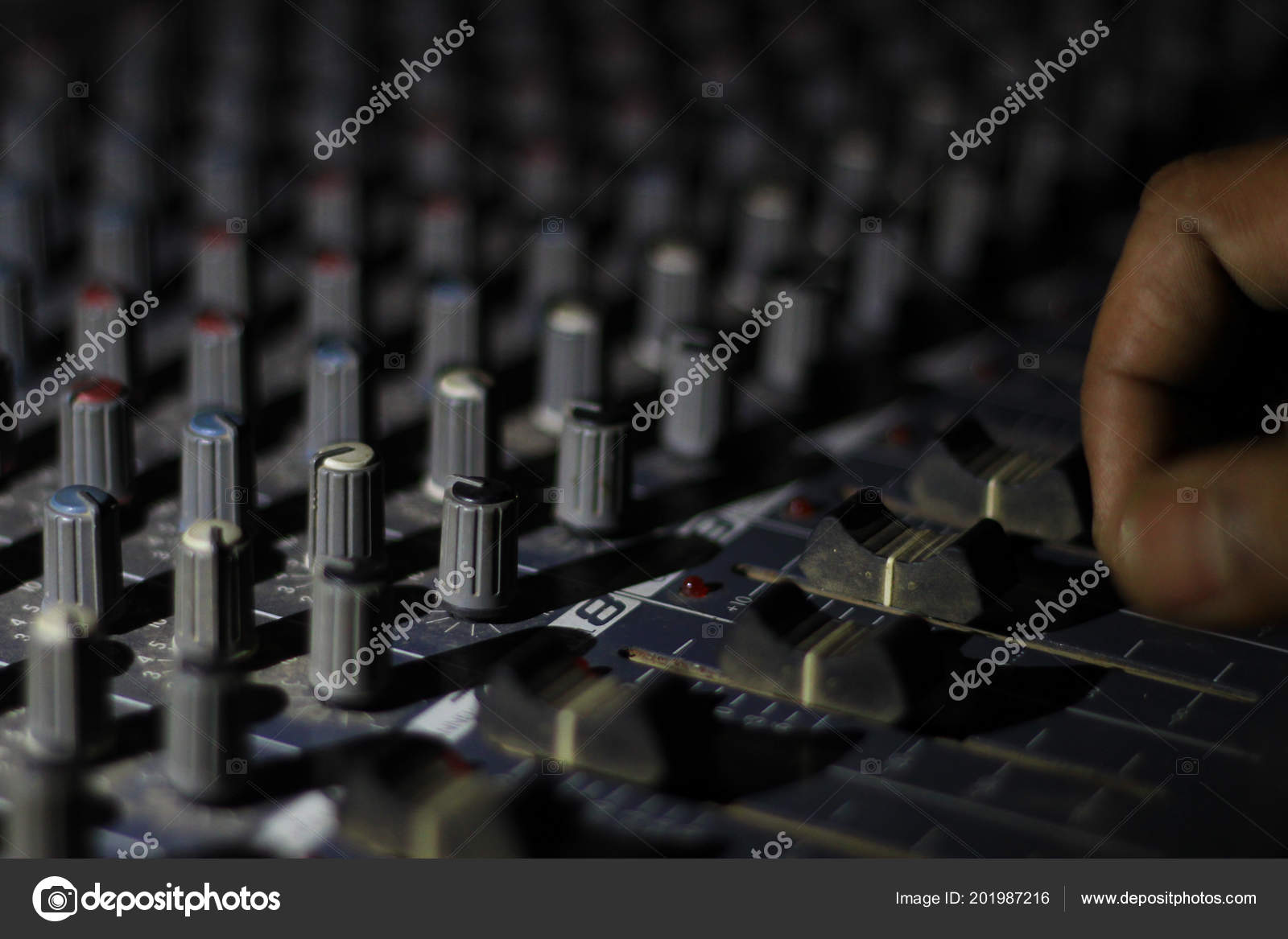Close View Knobs Sliders Light Sound Board Console Concert Theater