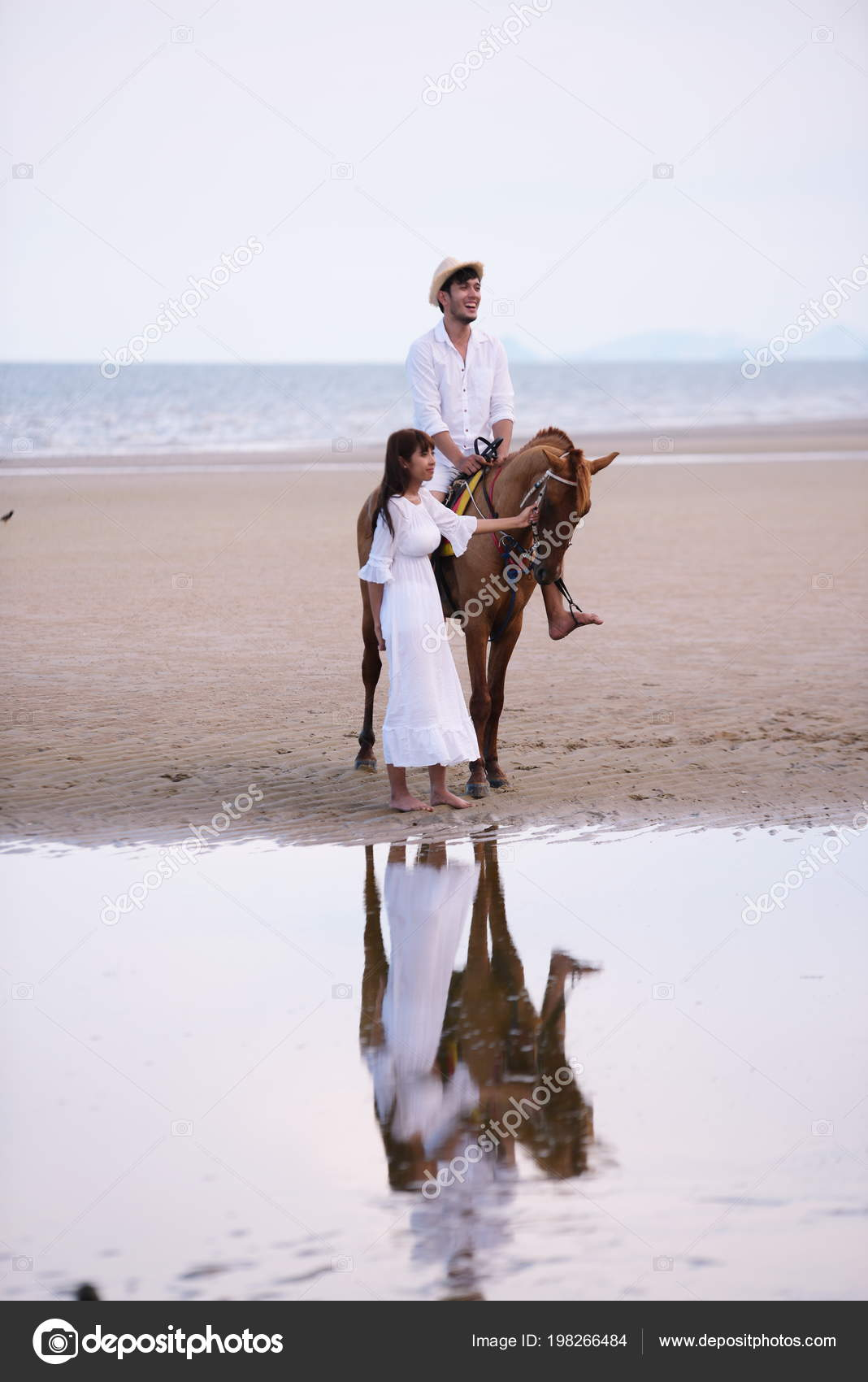 Romantic Couple Horse Riding Beach Afternoon Sweet Holiday Stock Photo C Tharathiponsri Gmail Com 198266484