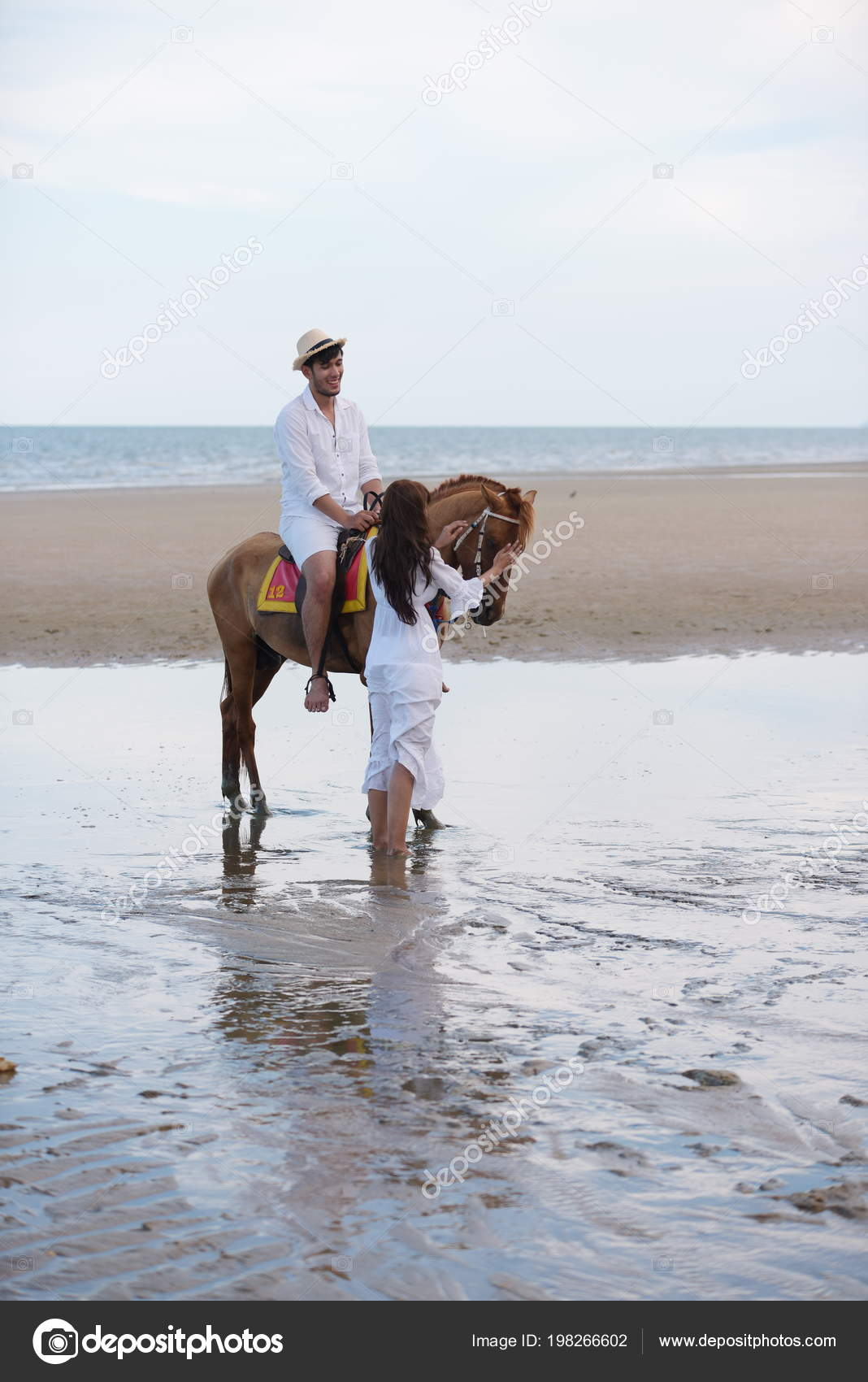 Romantic Couple Horse Riding Beach Afternoon Sweet Holiday Stock Photo C Tharathiponsri Gmail Com 198266602
