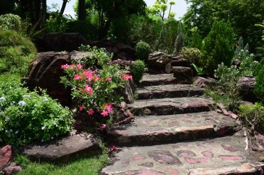 Spring Formal Garden. Beautiful garden of colorful flowers.Landscaped Formal Garden. Park. Beautiful Garden. stock vector