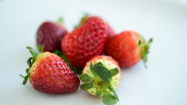 Szamóca friss a piacról. Enni is. Egészséges táplálkozás, Fogyókúra concept.Composition sokféle bio zöldségek és gyümölcsök. Kiegyensúlyozott étrend. Színes friss gyümölcsök, fehér háttér.