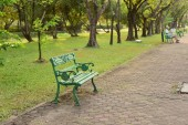 green bench in the beautiful park.