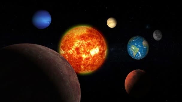 Realista gyönyörű bolygók a mi Naprendszerünk, mély űrben