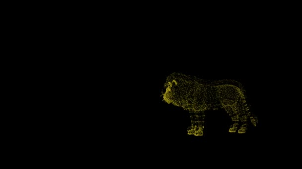 Motion of lion. Silhouette created from particles. Wild predator