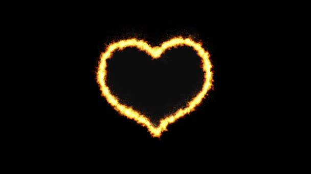 Heart shape flame burn on the black background with fire sparks