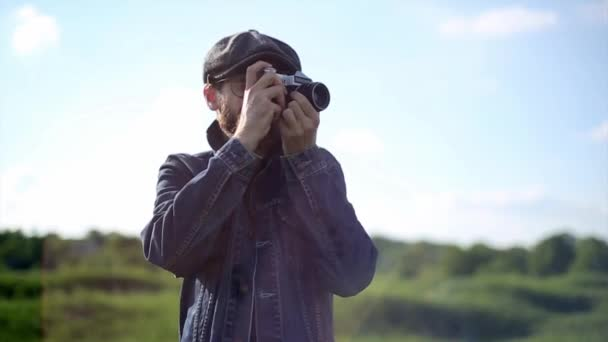 Hipster Photographer Take a Pictures With Vintage Camera