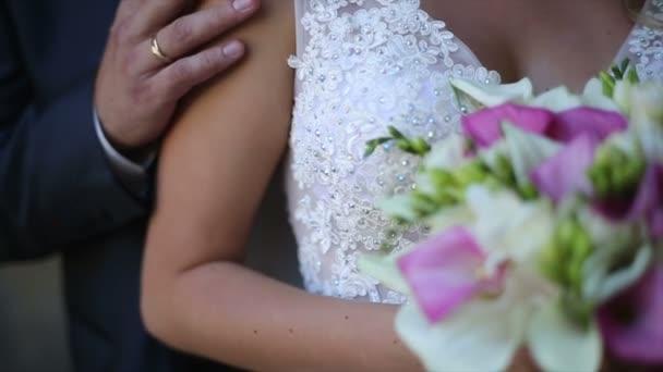 Wedding Couple. Groom Hugging Bride