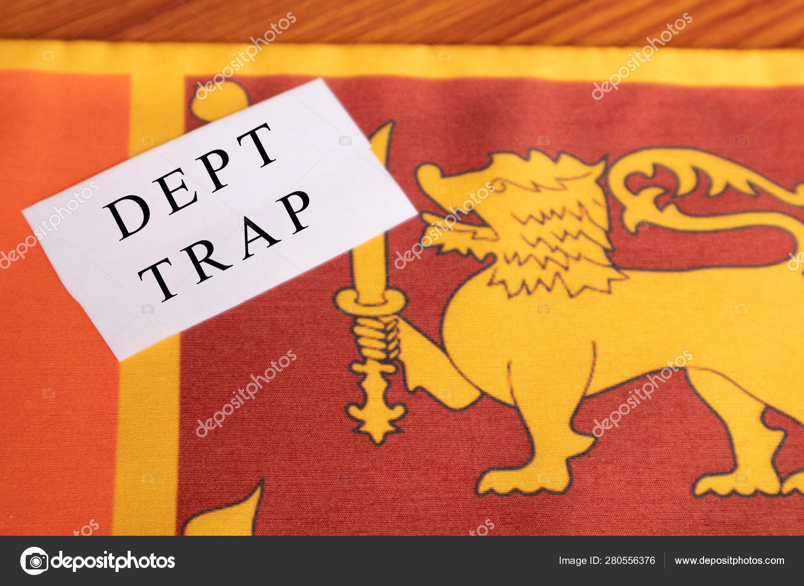 Concept of Dept trap printed on paper, Sri lankan flag as a