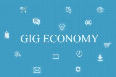 Concept of Gig economy and technology on blue background.