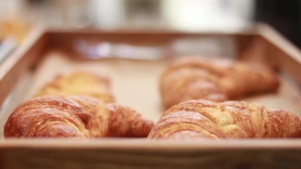 Kamera sleduje číšník nebo baker carry zásobník plný čerstvých jen pečené křupavé francouzské croissanty s máslem přes kavárnu nebo restauraci na tabulku.