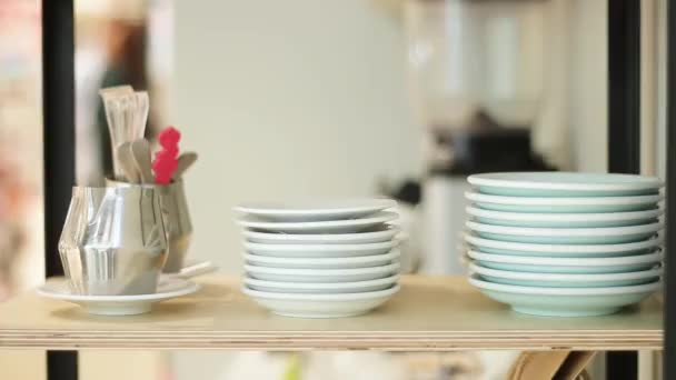 Crockery saucers and cups in the kitchen at the restaurant bar or cafe