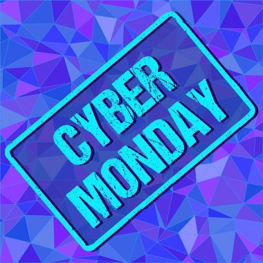 Banner with CYBER MONDAY sign in frame on abstract background. Vector illustration. vector stock. Blue, white, grey lights background