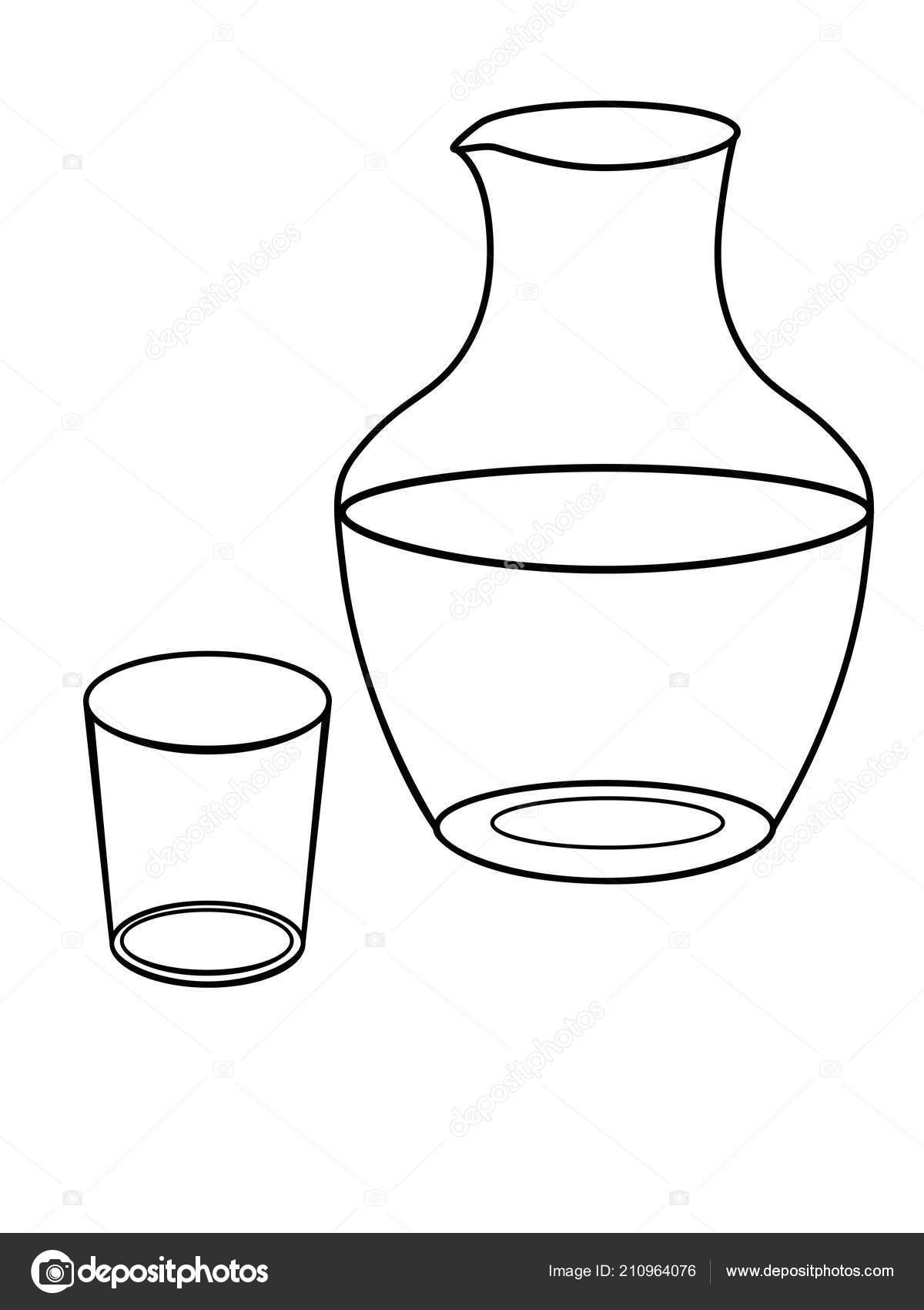 Jarra Vaso Agua Platos Jarra Vidrio Cristal Dibujo Para Colorear