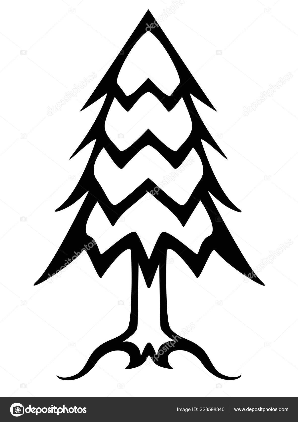 Arbre Noël Noir Blanc Photo Linéaire Illustration
