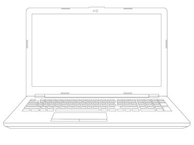 Open laptop linear vector picture for coloring. Computer.