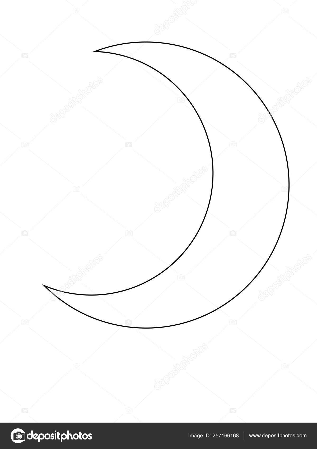Crescent Moon Outline Month Muslim Symbol Vector Moon