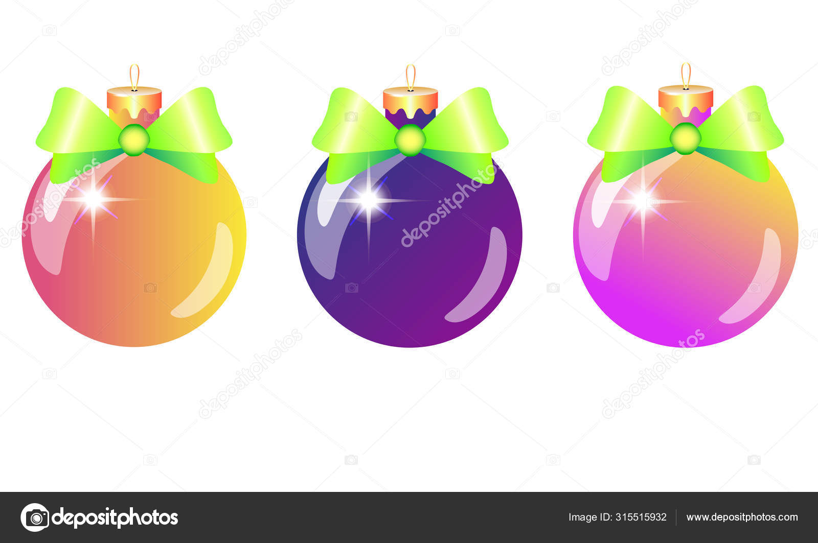 Christmas Tree Decorations Set Three Shiny Bright Glass Balls Pink Vector Image By C Disaanna Vector Stock 315515932