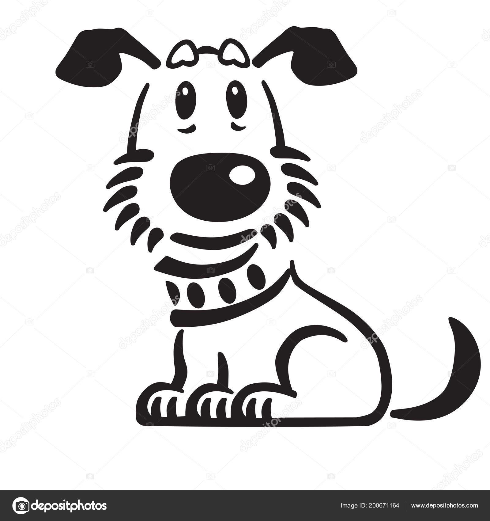 Cartoon Puppy Dog Vector Logo Icon Emblem Black White Outline