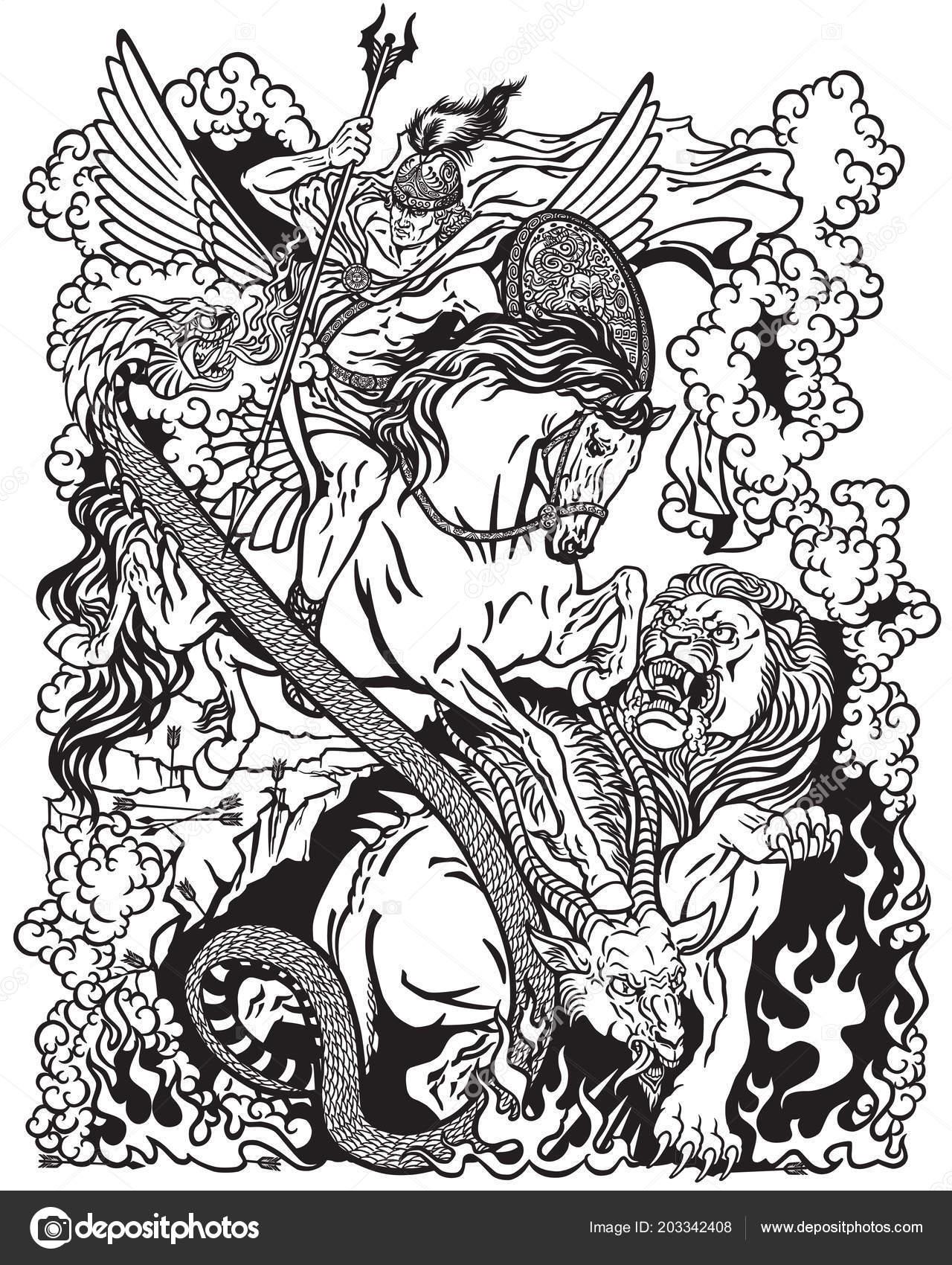 Pegaso Cavallo Alato Disegno.Vettore Pegaso Cavallo Alato Disegno Eroe Mitologico