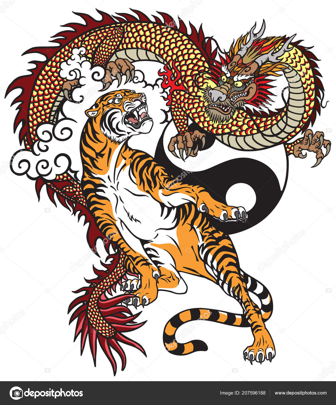 Chinese Dragon Tiger Tattoo Vector Illustration Included Yin Yang