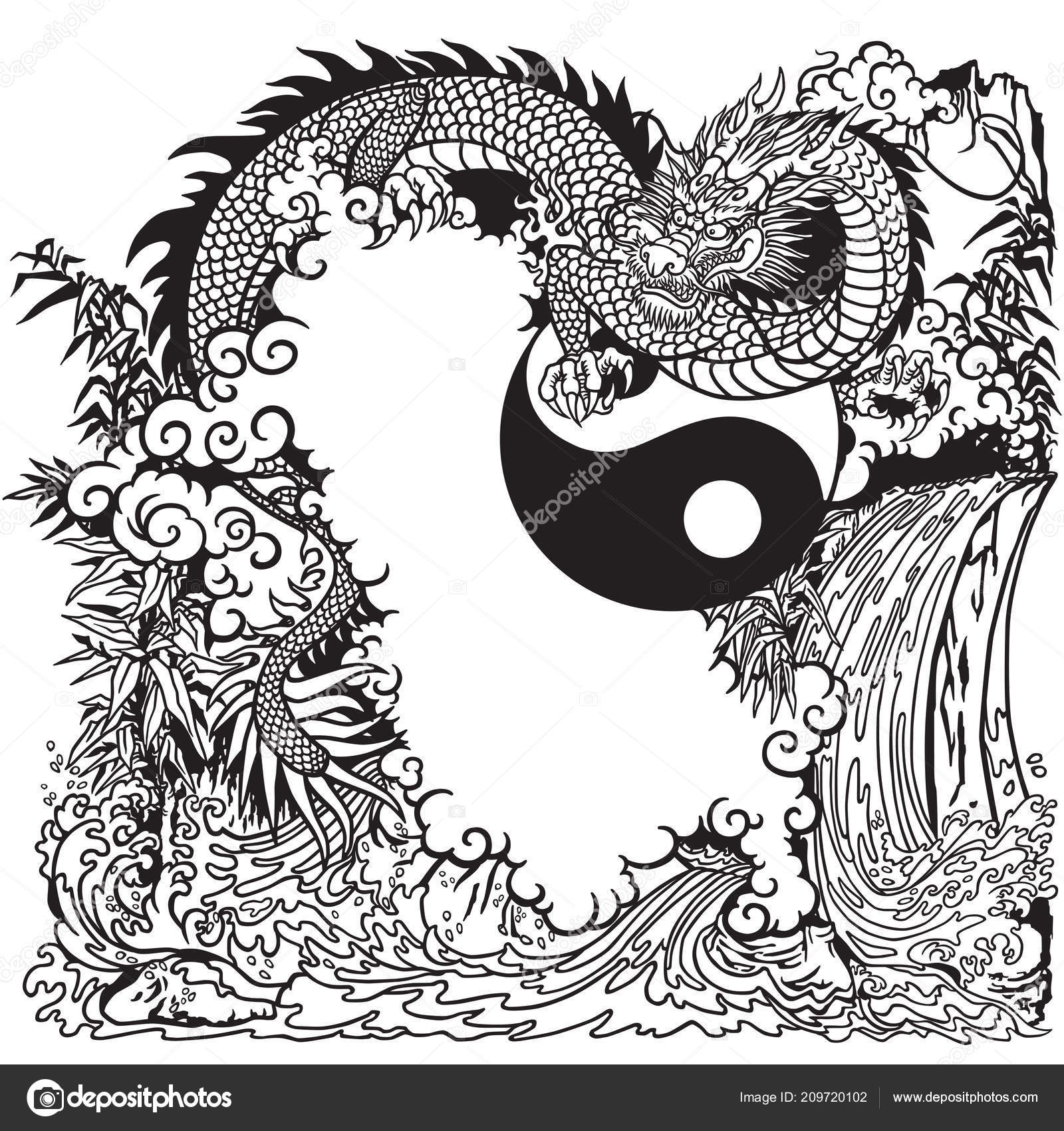 Chinese Dragon Yin Yang Chinese Dragon Landscape Waterfall