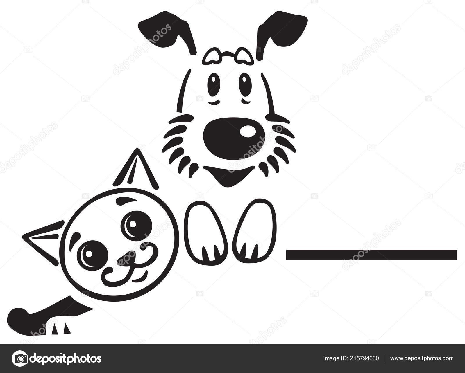 Cartoon Puppy Dog Cat Logo Icon Emblem Black White Vector Stock