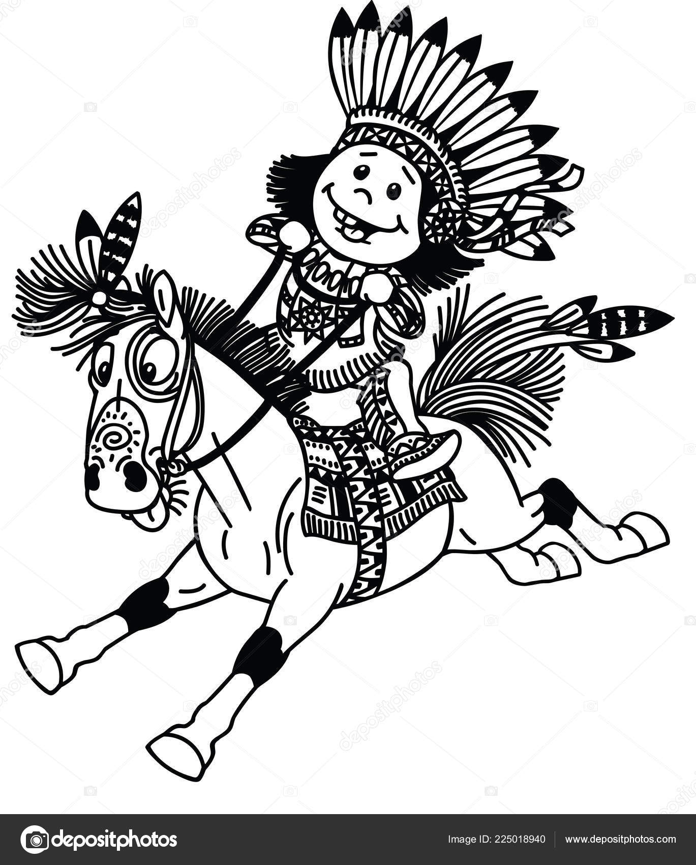 Native American Horse Costume Cartoon Kid Wearing Native Indian Costume Riding Mustang Pony Horse Stock Vector C Insima 225018940