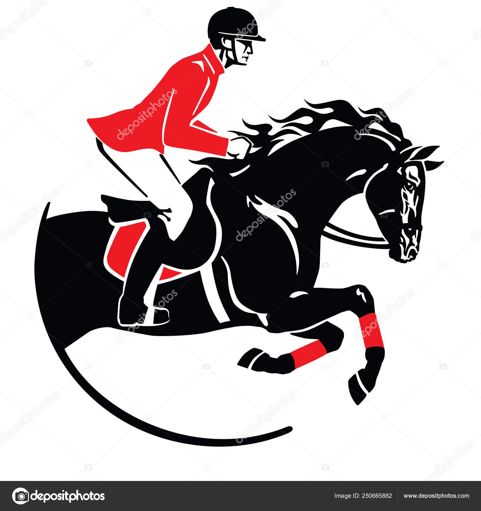 Red Jumping Horse Logo Equestrian Sport Horse Show Jumping Emblem Logo Icon Black Red Stock Vector C Insima 250665882