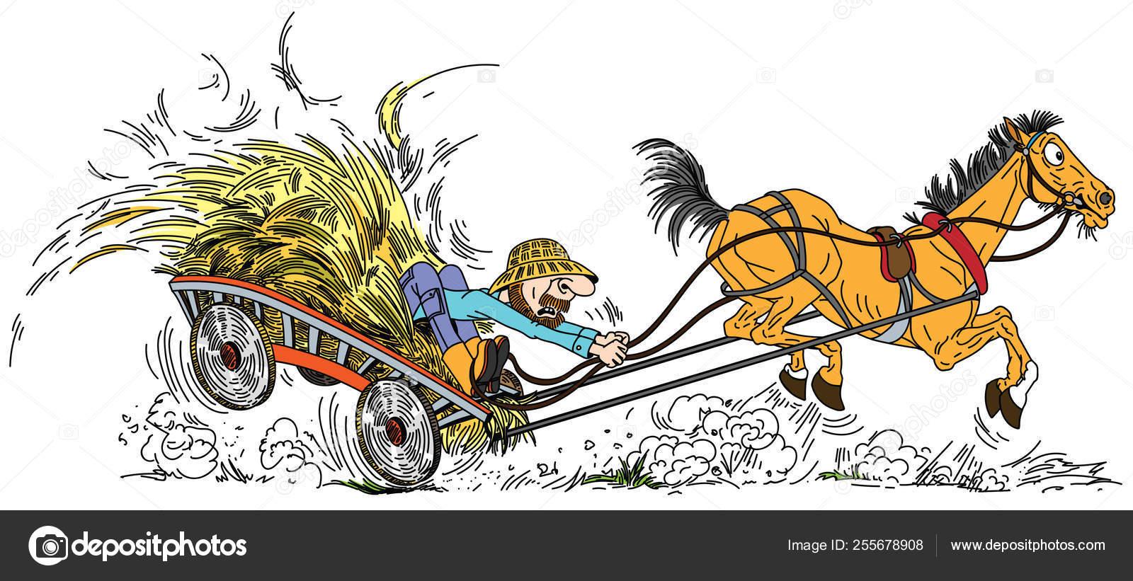 Viejo Caballo Dibujos Animados Sacó Carrito Madera Con Heno