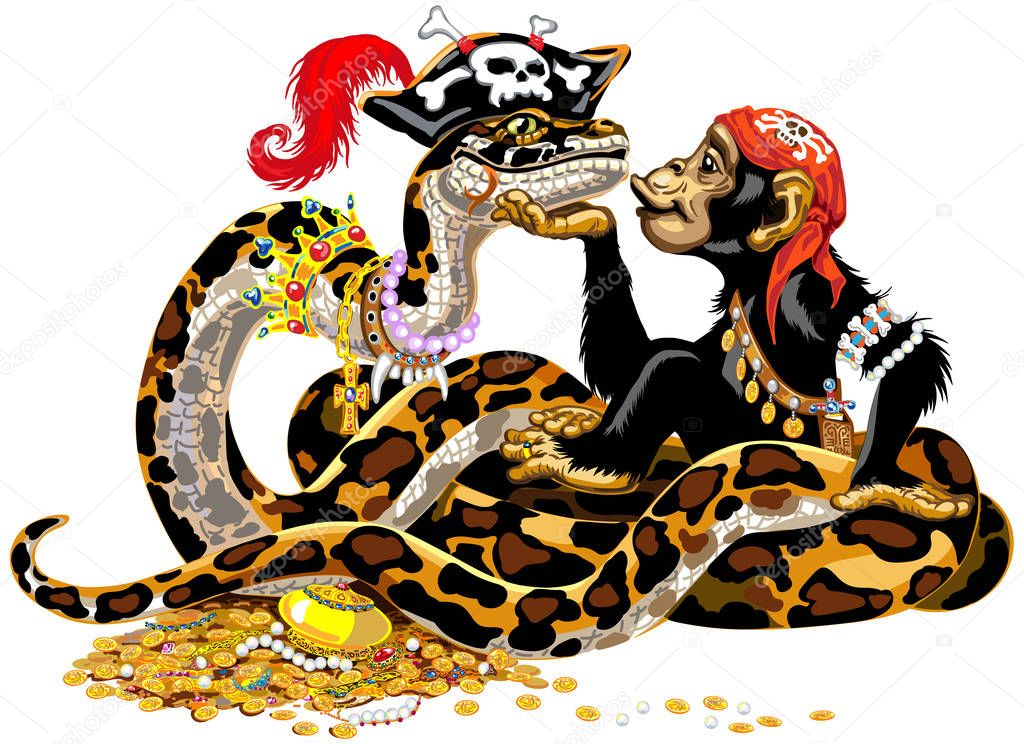 Cartoon Chimpanzee And Big Snake Pirates Near The Treasure Great Ape Or Chimp Monkey And Python Boa Constrictor Wearing Golden Crown And Pearl Necklace Laying On Pile Of Gold Coins And 1536 x 2048 jpeg 1153 кб. treasure great ape or chimp monkey