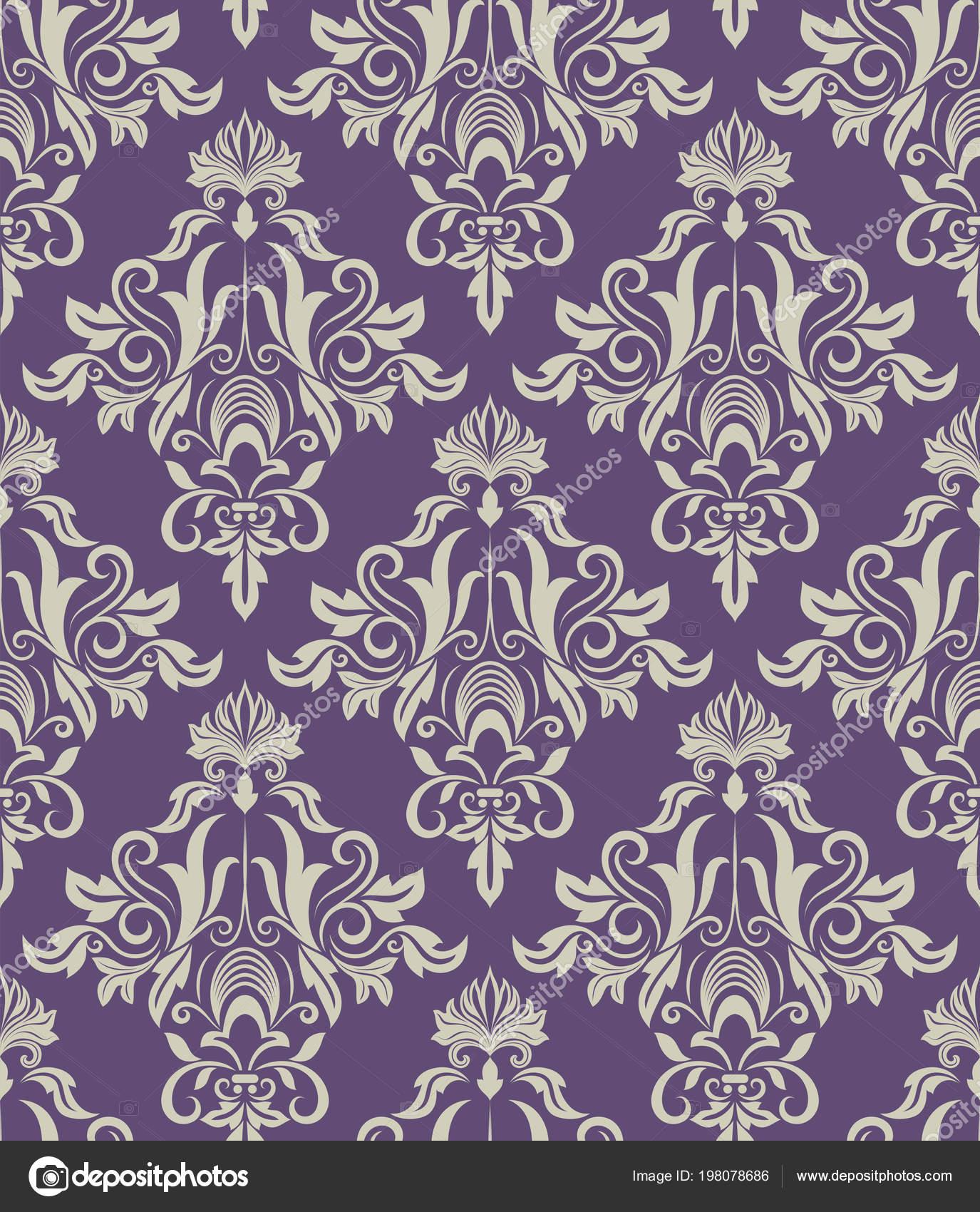 Dark Purple And Beige Vintage Wallpaper Pattern Vector Illustration By Lenapix