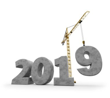 New 2019 year construction background with tower crane setting down nine concrete figure. 3D rendering. 2019 year calendar design.