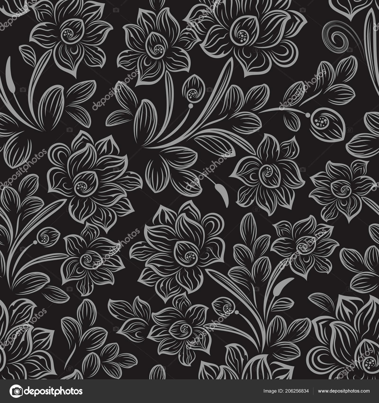 depositphotos 206256834 stock illustration black white seamless floral wallpaper