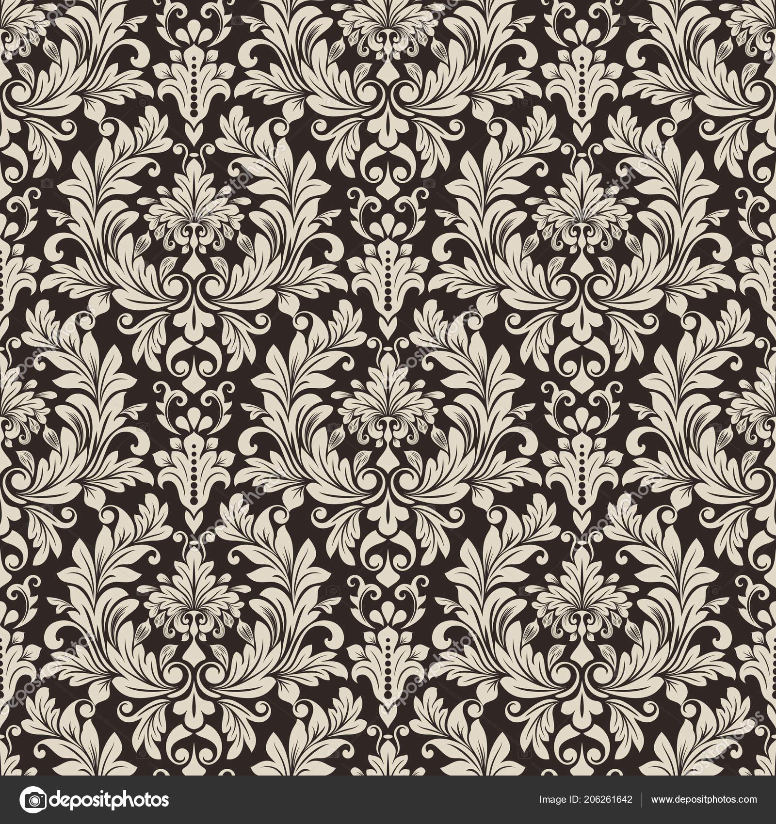Seamless Black White Floral Wallpaper Vector Background Vintage