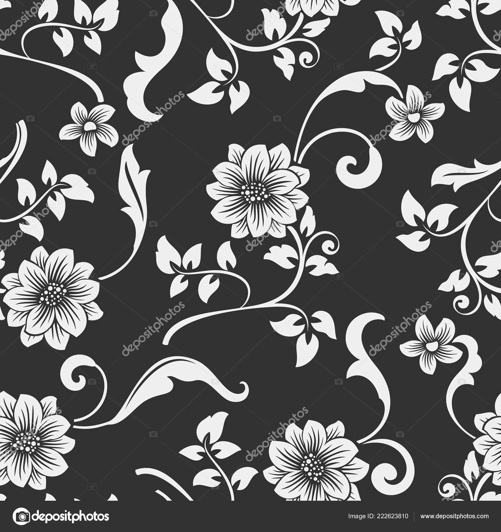 Seamless Black White Flower Vector Pattern Seamless Wrapping Paper