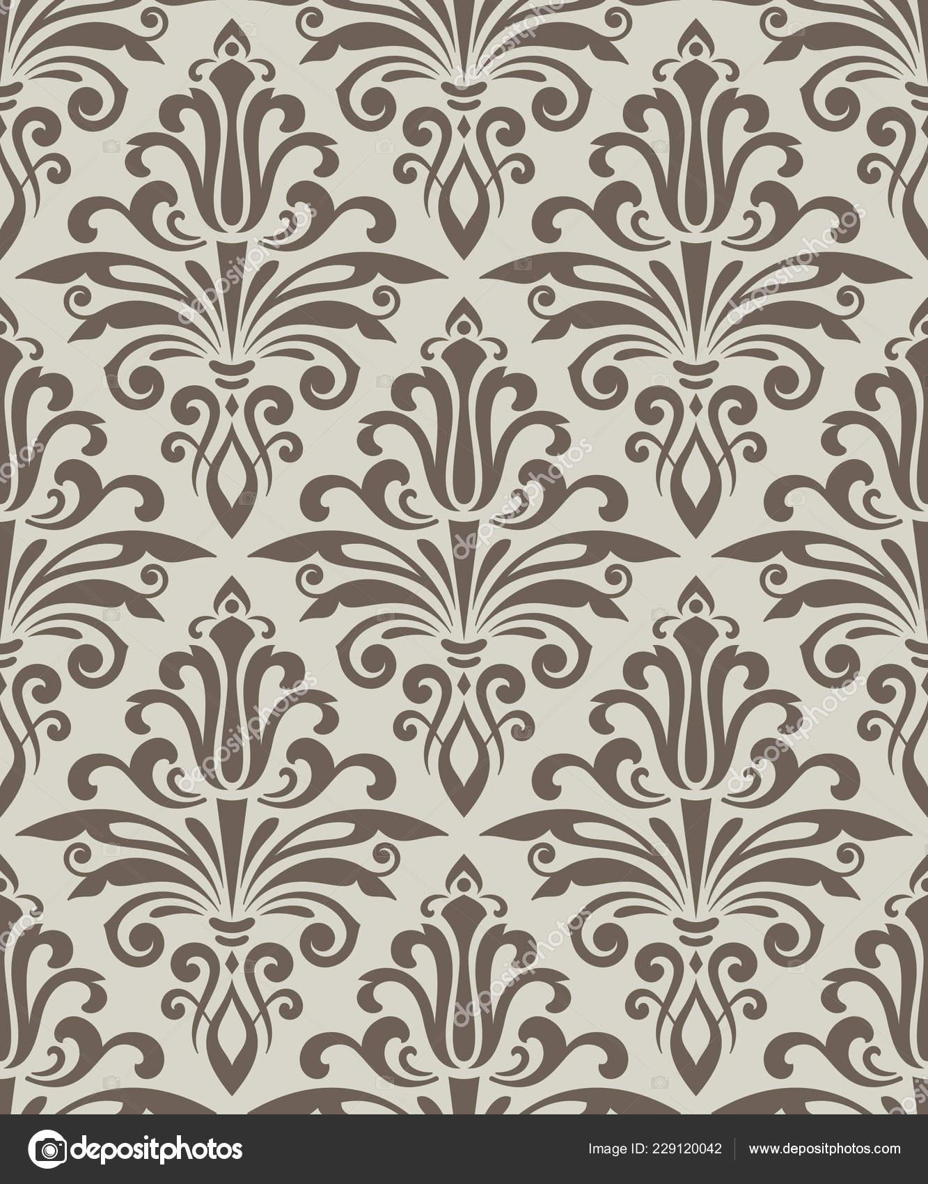 Beige Seamless Vintage Wallpaper Pattern Vector Template