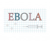 ebola word on checkered paper sheet- vector illustration