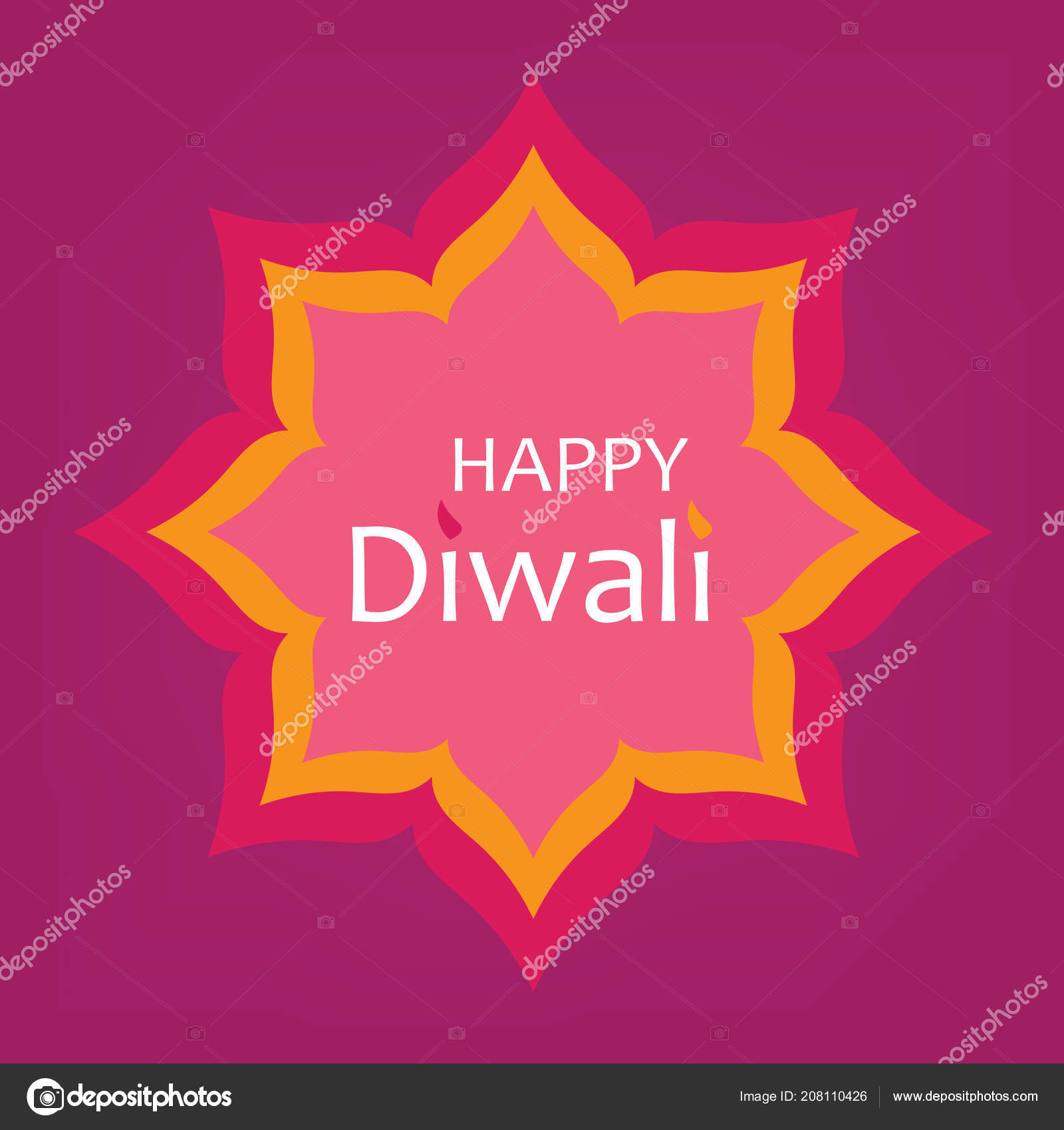 Happy Diwali Greeting Card Vector Illustration Stock Vector