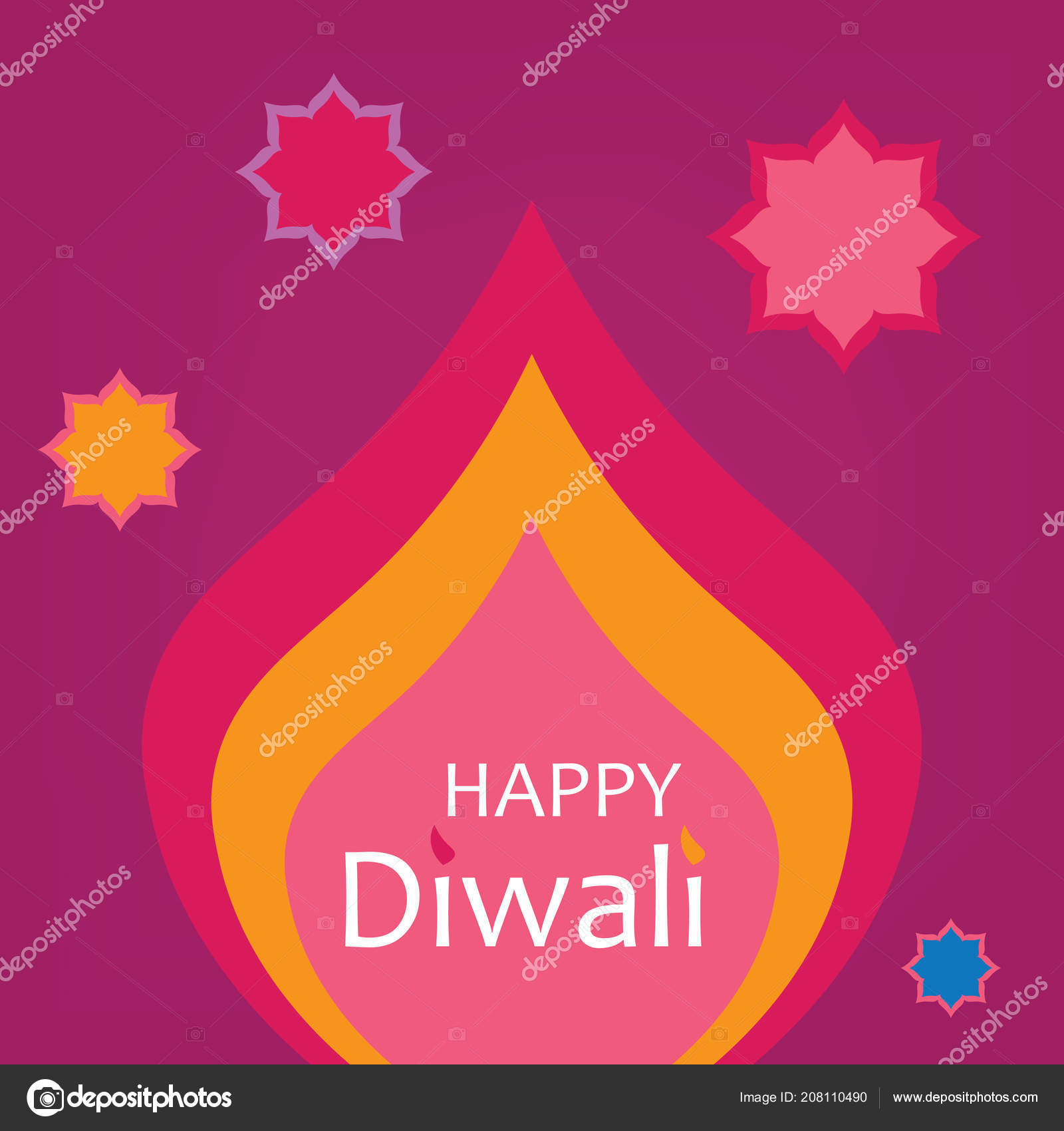 Happy Diwali Greeting Card Vector Illustration Stock Vector