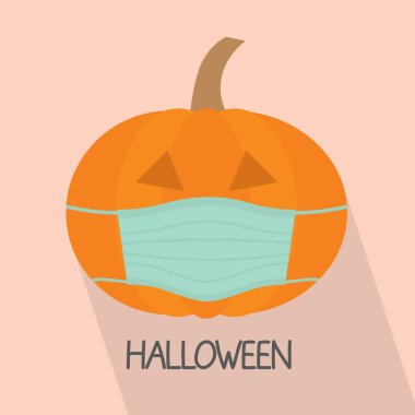 Pumpkin with face mask, halloween celebration during coronavirus pandemic, protective measures- vector illustration icon