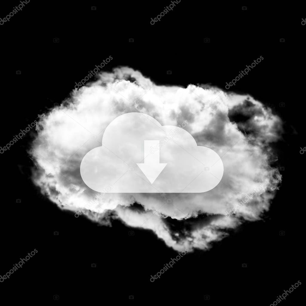 Cloud data shape illustration concept isolated over black backgr