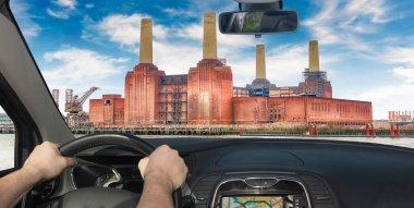 Driving a car towards Battersea Power Station, London, UK